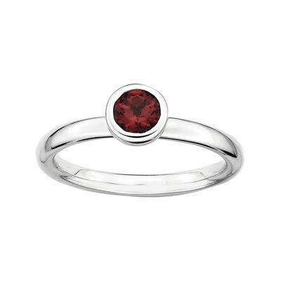 Personally Stackable 5mm Round Genuine Garnet Ring