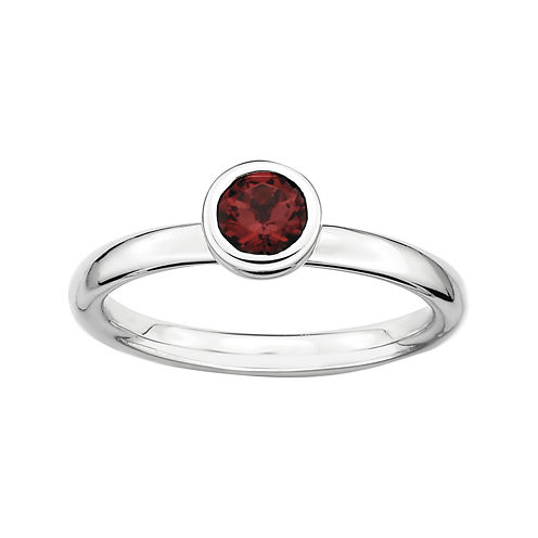 Personally Stackable 5mm Round Genuine Garnet Ring