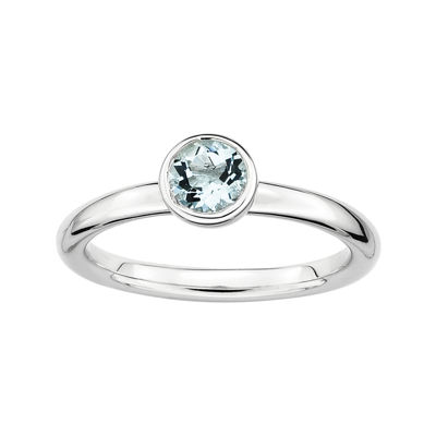 Personally Stackable 5mm Round Genuine Aquamarine Ring