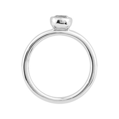 Personally Stackable 5mm Round Genuine White Topaz Ring