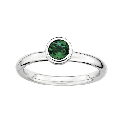 Personally Stackable 5mm Round Lab-Created Emerald Ring