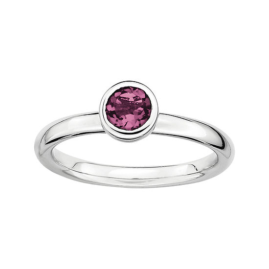Personally Stackable 5mm Round Genuine Pink Tourmaline Ring