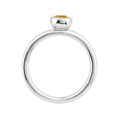 Personally Stackable 5mm Round Genuine Citrine Ring