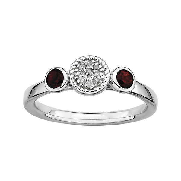 Personally Stackable Double Garnet & Diamond-Accent Ring