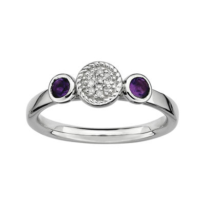Personally Stackable Double Amethyst & Diamond-Accent Ring