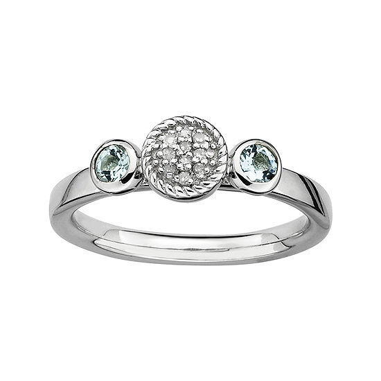 Personally Stackable Double Aquamarine & Diamond-Accent Ring