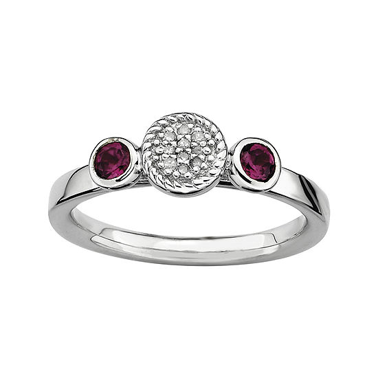 Personally Stackable Double Rhodolite & Diamond-Accent Ring