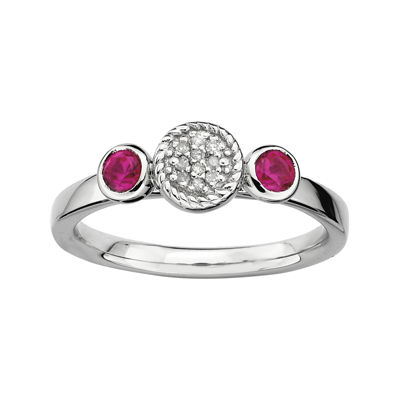 Personally Stackable Double Lab-Created Ruby & Diamond-Accent Ring
