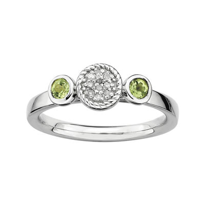 Personally Stackable Double Peridot & Diamond-Accent Ring