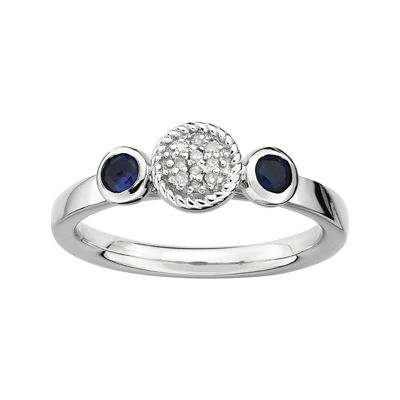 Personally Stackable Double Lab-Created Sapphire & Diamond-Accent Ring