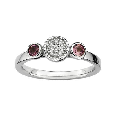 Personally Stackable Double Pink Tourmaline & Diamond-Accent Ring