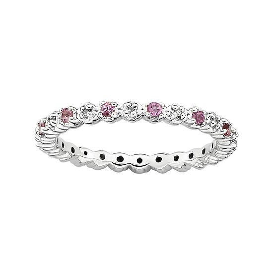 Personally Stackable Genuine Pink Tourmaline Diamond Accent Eternity Ring