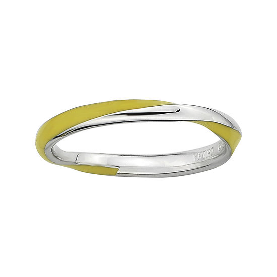 Personally Stackable Sterling Silver Twisted Yellow Enamel Ring