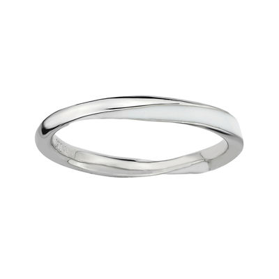 Personally Stackable Sterling Silver Twisted White Enamel Ring