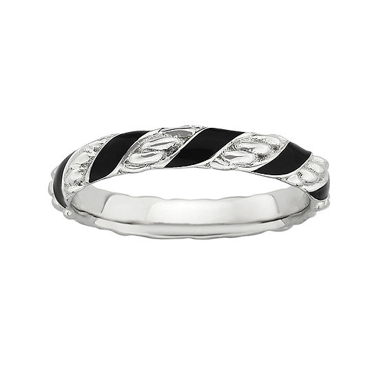 Personally Stackable Sterling Silver Black Enamel Ribbon Ring