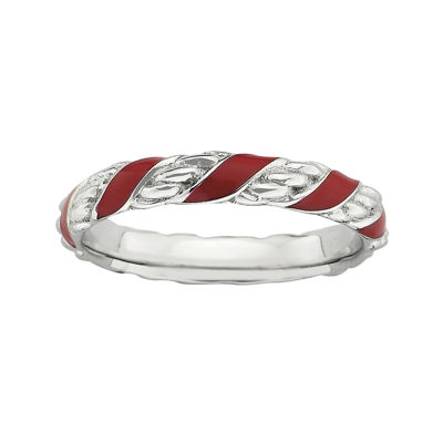 Personally Stackable Sterling Silver Red Enamel Ribbon Ring