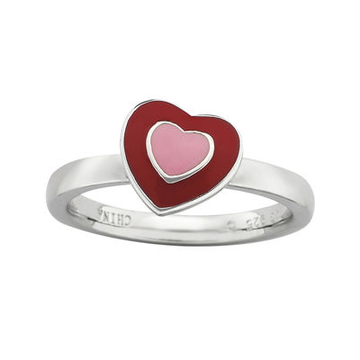 Personally Stackable Red Enamel Heart Ring