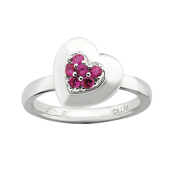 Personally Stackable Lab-Created Ruby Heart Ring
