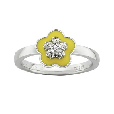 Personally Stackable Cubic Zirconia and Enamel Flower Ring