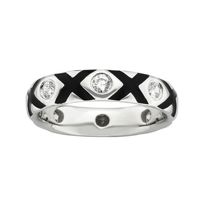 Personally Stackable Cubic Zirconia and Enamel Ring