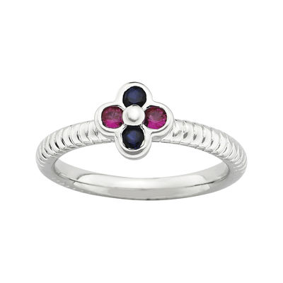 Personally Stackable Lab-Created Ruby & Sapphire Flower Ring