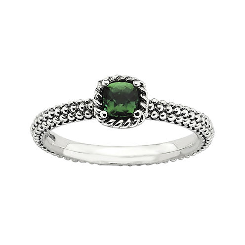 Personally Stackable Square Lab-Created Emerald Ring