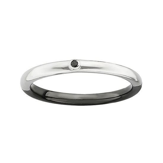 Personally Stackable White & Color-Enhanced Black Diamond-Accent Ring