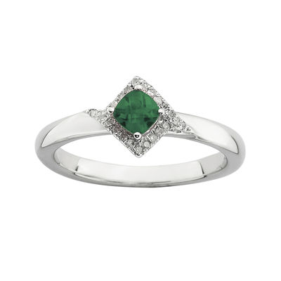 Personally Stackable 1/10 CT. T.W. Diamond and Lab-Created Emerald Ring