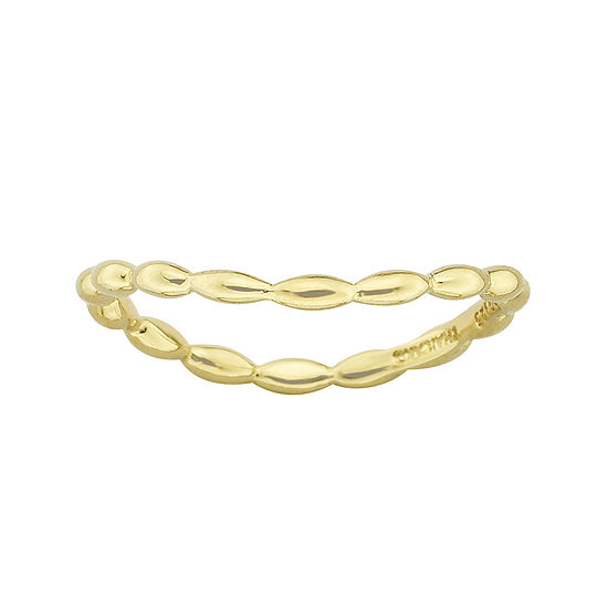 Personally Stackable 18K Yellow Gold Over Sterling Silver Rice Bead Wave Ring