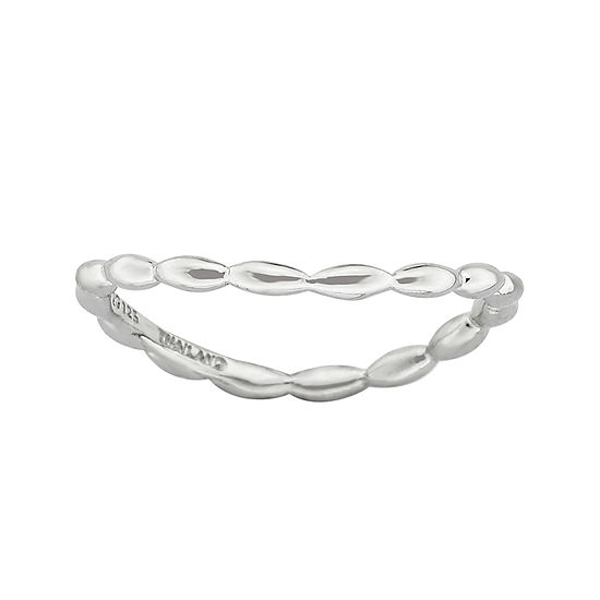 Personally Stackable Sterling Silver Rice Bead Wave Ring