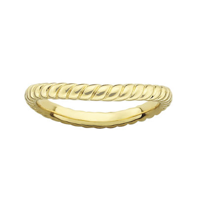 Personally Stackable 18K Yellow Gold Over Sterling Silver Twisted Wave Ring
