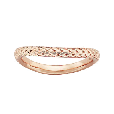 Personally Stackable 18K Rose Gold Over Sterling Silver Cable Wave Ring
