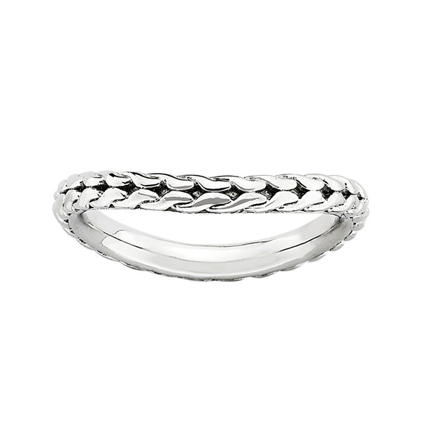 Personally Stackable Sterling Silver Woven Wave Ring
