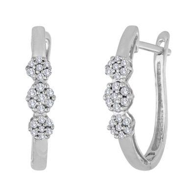 diamond blossom 1/10 CT. T.W. Diamond 10K White Gold Cluster Hoop Earrings