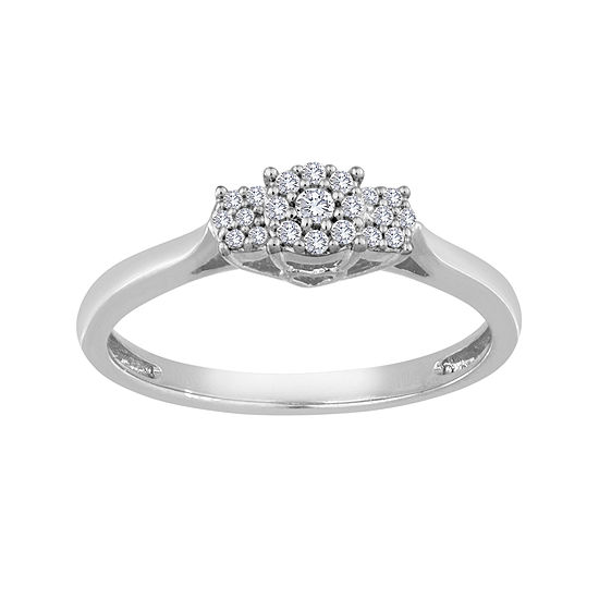 diamond blossom 1/10 CT. T.W. Diamond 10K White Gold Cluster Ring