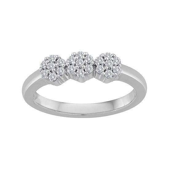 diamond blossom 1/4 CT. T.W. Diamond 10K White Gold Cluster Ring
