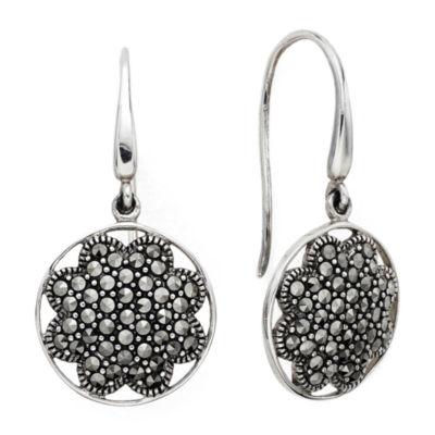 Pavé Marcasite Sterling Silver Drop Earrings