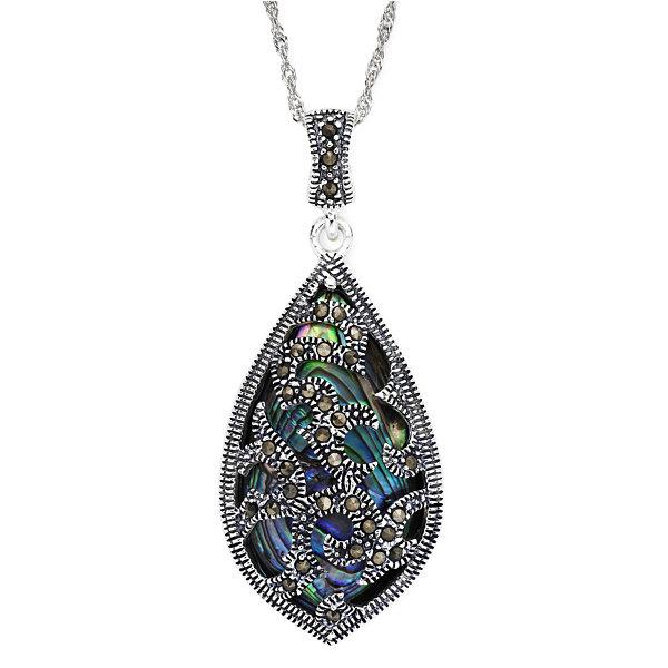 Sterling silver marcasite pendant marcasite and abalone shell sterling silver teardrop pendant necklace aloadofball Images