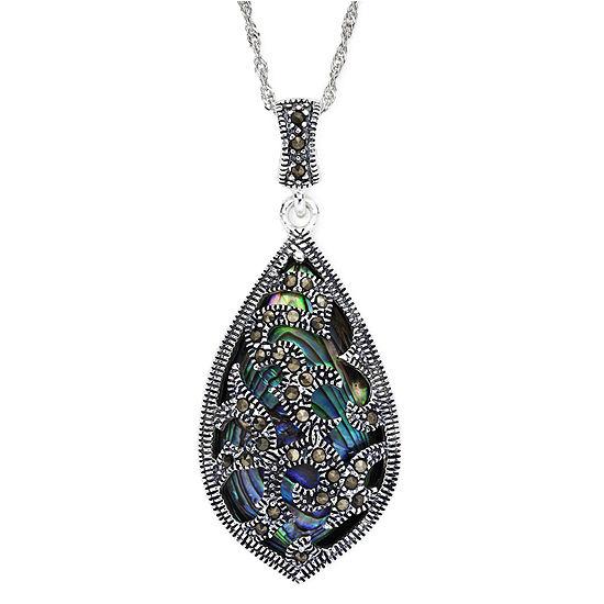 Sterling silver marcasite pendant marcasite and abalone shell sterling silver teardrop pendant necklace aloadofball Choice Image