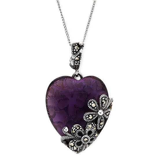 Marcasite and Glass Heart Sterling Silver Pendant Necklace