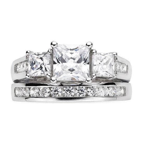 Cubic Zirconia Sterling Silver Bridal Set