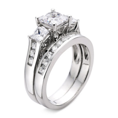 Cubic Zirconia Sterling Silver Bridal Set