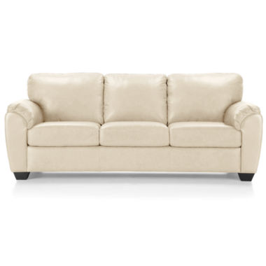 Leather Possibilities Pad-Arm Queen Sleeper Sofa