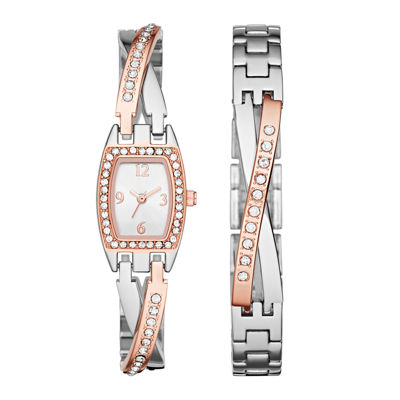 Womens Crystal Criss-Cross Glitz Watch and Bracelet Set