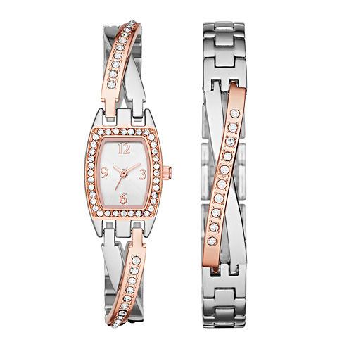 Womens Crystal Criss-Cross Glitz Watch and Bracelet Set