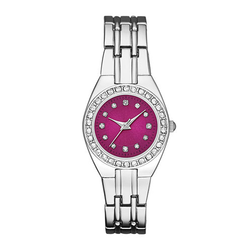 Womens Crystal-Accent Red Dial Silver-Tone Bracelet Watch