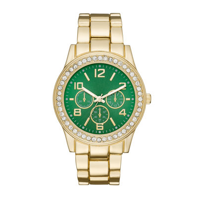 Womens Crystal-Accent Green Dial Boyfriend Bracelet Watch