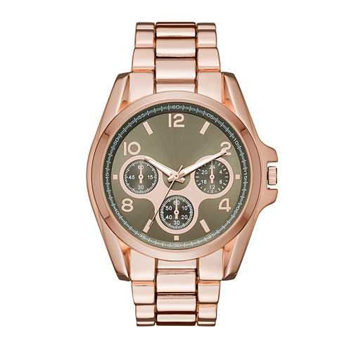 Womens Taupe Dial Rose-Tone Boyfriend Bracelet Watch