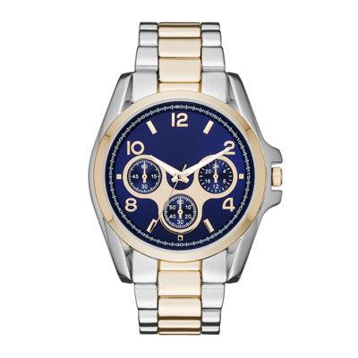 Womens Blue Dial Two-Tone Boyfriend Bracelet Watch