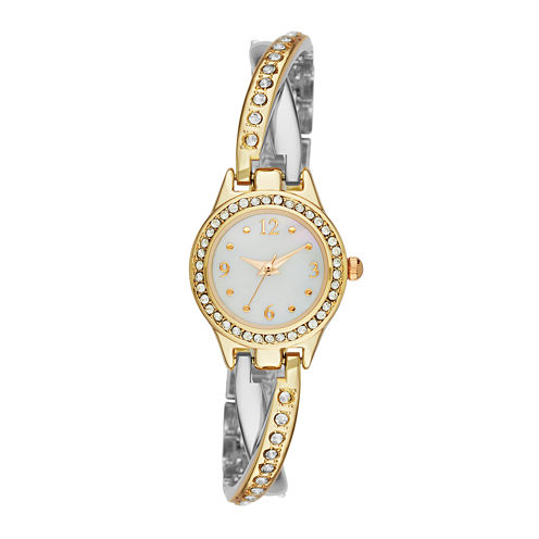 Geneva Womens Crystal-Accent Two-Tone Twist Bracelet Watch